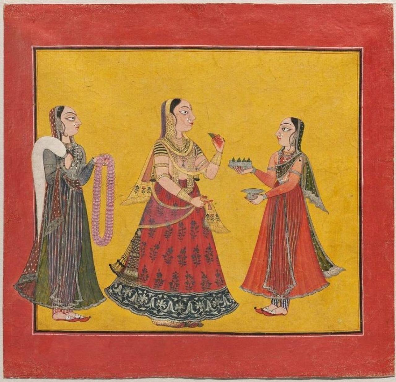 Woman Eating Pan with Two Maids. Pahari art, circa 18 century